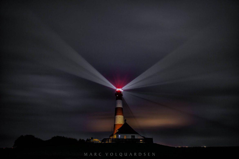 Leuchtturm Westerhever Sand bei Nacht