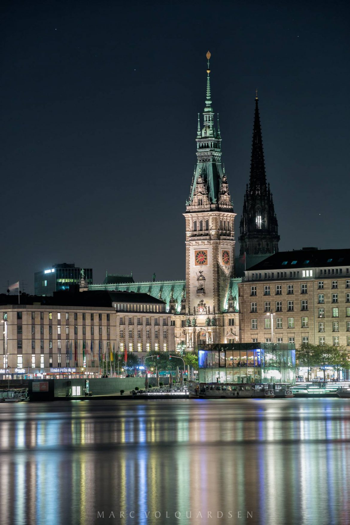 Town Hall of Hamburg at Night