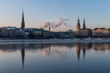 Frozen Alster Lake in golden Light