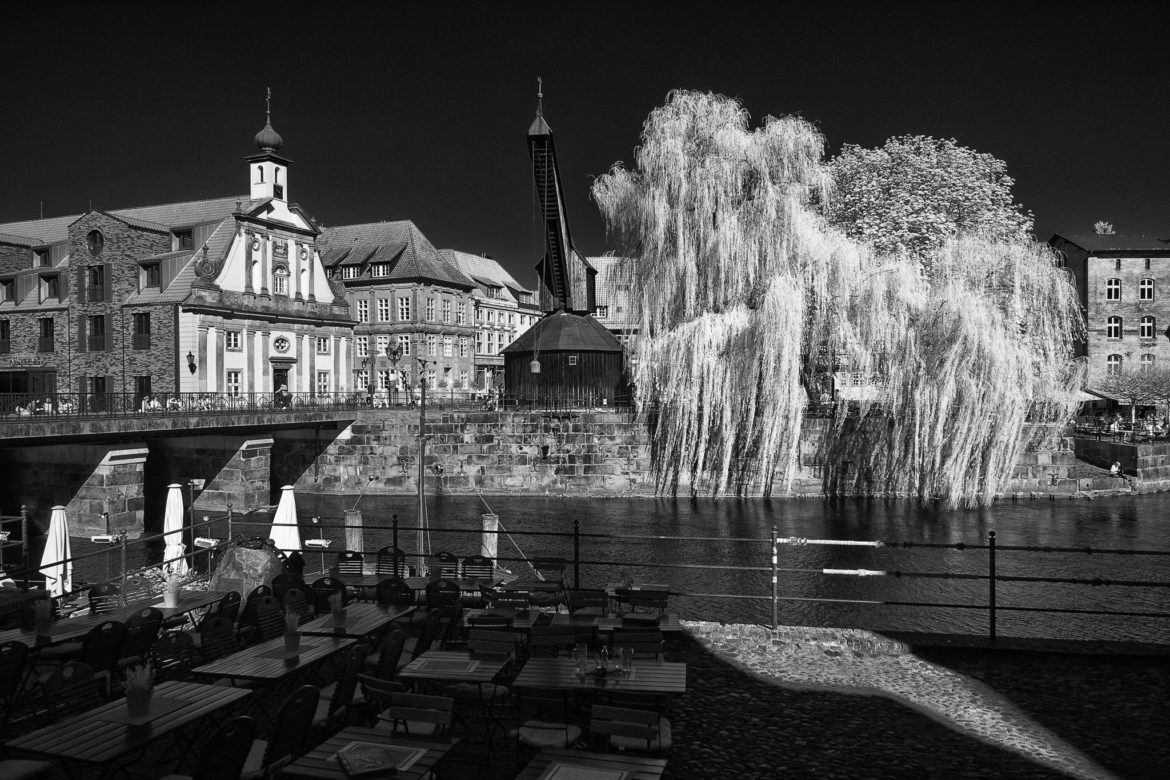 Lüneburg's Stintmarkt in infrared