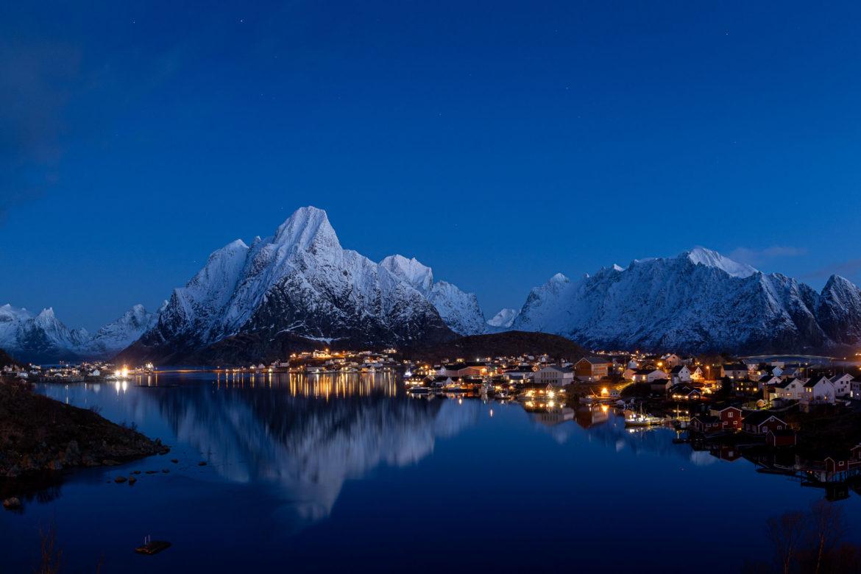 Reinefjord at dawn panorama