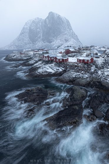 Hamnøy in a snowstorm